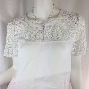 J. Crew 8 white linen & cotton lace short sleeve